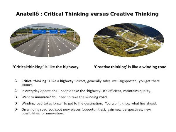 Creative thinking and critical thinking symbolised by the hightway and a winding road